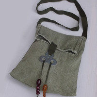 Green Denim Shoulder Bag, Tote Bag with Green Fabric Handles, Handmade