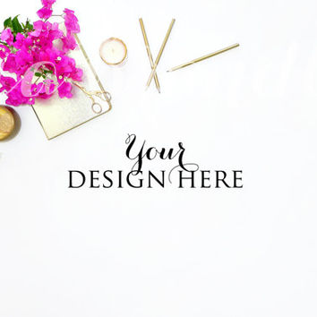 BUY 1, GET 1 FREE | Styled Stock Photography | White Desk, Gold Accessories, Pink Flowers, High Resolution File | #0014