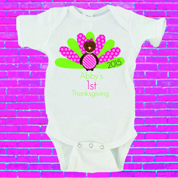 Babies First Thanksgiving Custom Name Gerber Onesuit ®