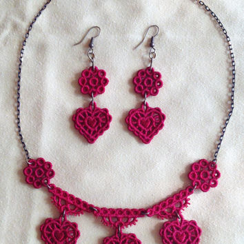Lace heart set Lace heart choker Lace heart earring Lace heart necklace Love gift Red lace earring Gift for her Girlfriend gift Lace earring