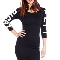 Left Right Three Quarter Sleeve Dress - Black
