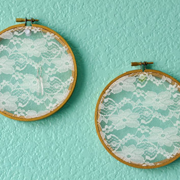 Embroidery Hoop Earring Display, PICK TWO, Cottage Chic Lace Earring Storage, Shabby Chic Jewelry Frame, Mother's Day, Elegant Lace