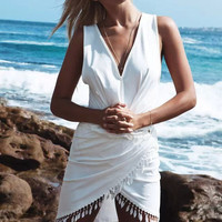 White Lace V-Neck Sleeveless Asymmetrical Wrapped Dress