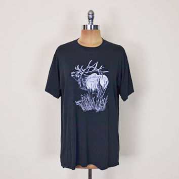 Vintage 80s Black & White Moose Elk Deer Antlers Animal Hunting T-Shirt Tshirt 50/50 Soft Thin 80s T-Shirt Hipster T-Shirt Mens L Large