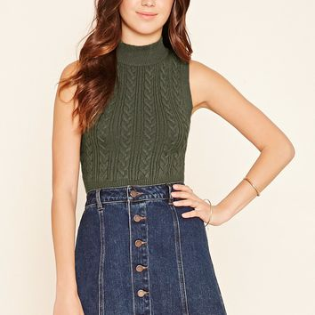 Mock Neck Sweater Crop Top