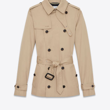 Short trench coat in sand-colored gabardine