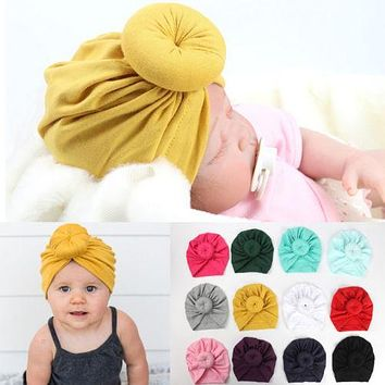 12 Color Toddler Infant Baby Kids Cotton Turban Knot Bunny Ear Hat Head Wrap Headband