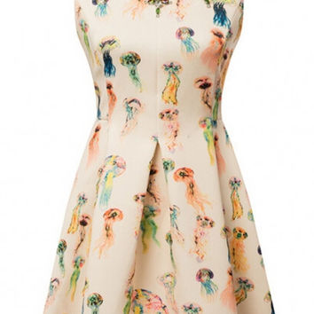 Apricot JellyPrint Sleeveless Mini Skater Dress