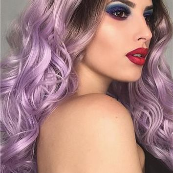 Long Black Root To Light Purple Ombre Wave Synthetic Lace Front Wig
