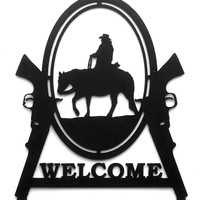 Western welcome sign, cowboy metal sign