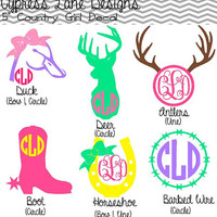 "5"" Custom Country Girl Decals with Monogram"