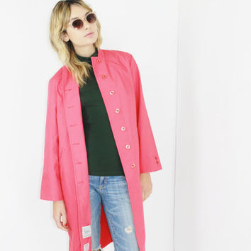 60s 70s HOT PINK trench short collar trench coat long coral duster jacket minimalist color block medium med m
