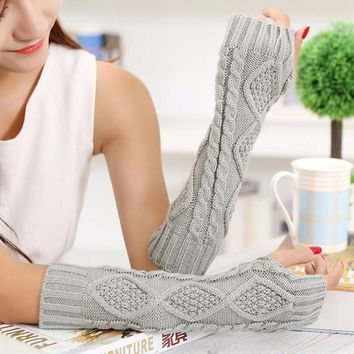 Fashion Women Solid Gloves Fall Winter Warm Ladies Girl Arm Warmer Long Gloves Fingerless Knitting Wool Mittens guantes mujer