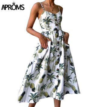 Aproms Sunflower Print Summer Dress Women Casual V Neck Backless Boho Dress Vestidos High Wasit Midi Dress Plus Size Sundresses