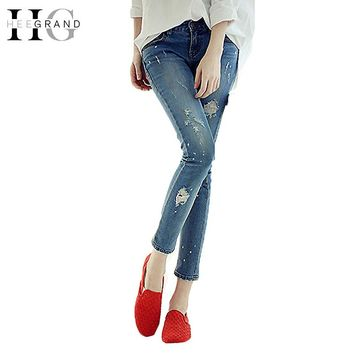 HEE GRAND 2017 Summer Spring Bule Jeans Women Skinny Holes Demin Pants Elastic Ripped Causal Vintage Girls Pencil Pants WKN532