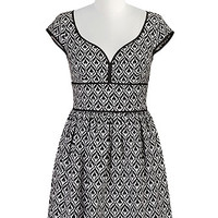 Graphic jacquard banded waist dress
