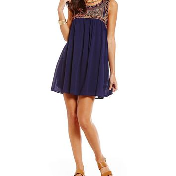 Blu Pepper Embroidered Babydoll Dress | Dillards