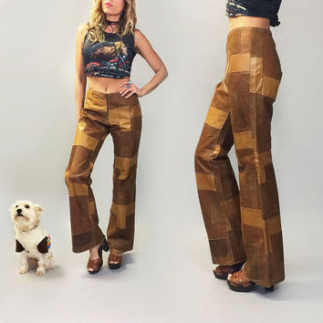 Vintage 1970's Rare PATCHWORK Leather & Suede Deadstock Unworn Honey Brown, Mocha And Tan Boho Hippie Bell Bottom Pants || Size 32