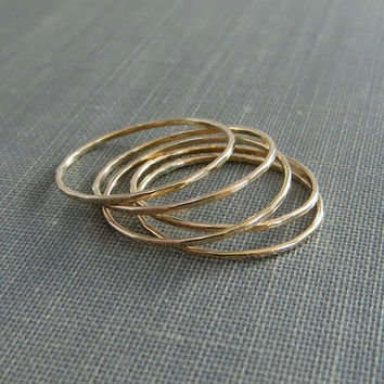 Thin Gold Stackable Rings - Set of 5 Rings - Super Slim - 14K Yellow Gold Filled - Simple Modern Minimal Rings