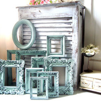 Antique Mint Vintage Frame Set Ornate Mint Picture Frames Green Frame Gallery Made to Order Picture Frames  Cottage Chic Frames  Shabby Chic