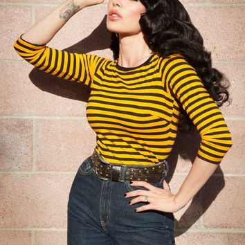 Boatneck Top in Gold and Black Stripe