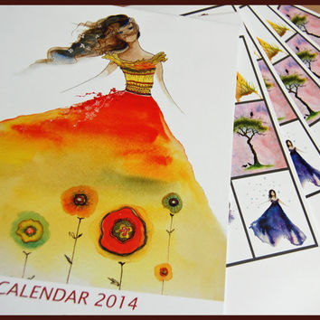 2014 Watercolour Art Calendar  Christmas gift by oladesign on Etsy