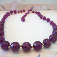 Vintage Glittery Faceted Plum Purple Graduated Bead Necklace