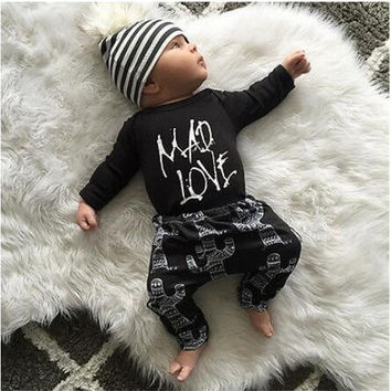 2016NEW Autumn baby boy girl clothing set Casual suit black cute baby clothes set baby romper jumpsuit newborn clothes baby suit