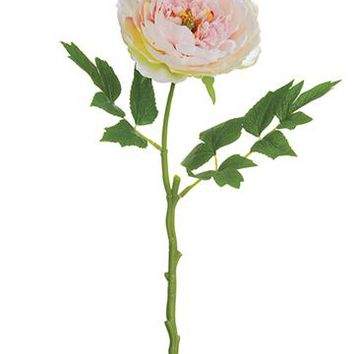 "Light Pink Silk Peony Flower - 18"" Tall"