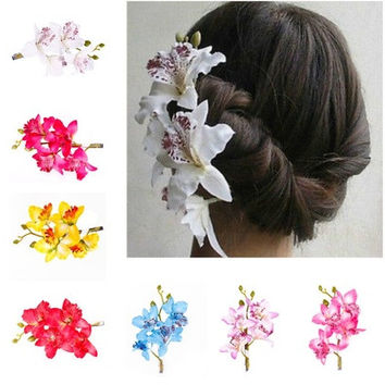 Fashion Woman Wedding Phalaenopsis Flower Hair Clip Bridal Hawaii Party Corsage [7981212551]