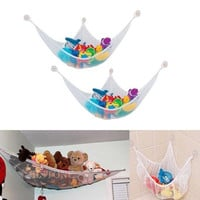 1pc White Baby Organizer Hanging Toy Net Hammock Stuffed Plush Doll Storage Bag = 1946429508