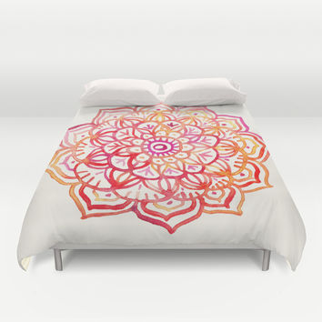 Watercolor Medallion in Sunset Colors Duvet Cover by Micklyn