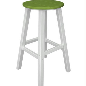 2 Bar Stools - Electric Lime With White Legs