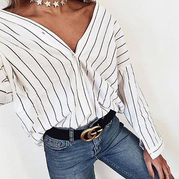 LDZHPS 2017 new women blouses work shirt Striped loose V-neck tops fashion shirt Women's long Batwing Sleeve Tops