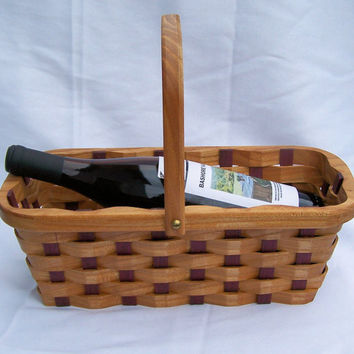 wine bottle carrier basket with Handle Mothers by BasketsByDebi
