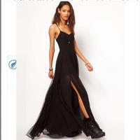 Summer Eye-catching Strap Chiffon Maxi Dress = 4756837828