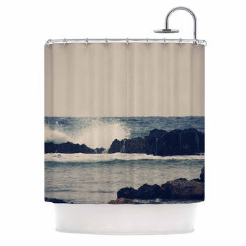 "Sylvia Coomes ""Ocean Blue 2"" White Coastal Shower Curtain"