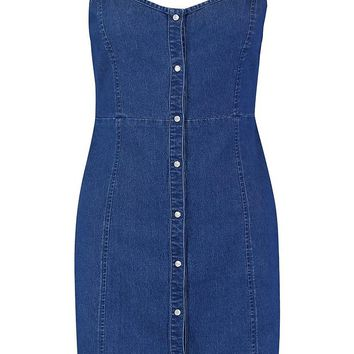 Strappy Popper Front Denim Dress | Boohoo