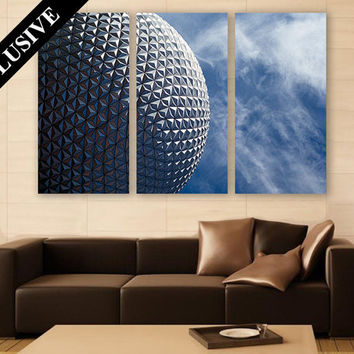Florida Wall Art LARGE Canvas Print 3 Panel Art Architecture Wall Decor Blue Sky Fine Art Photography Print for Home & Office Wall Art