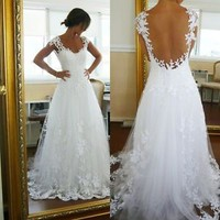 Sheer Neck Tatoo Lace Wedding Dress Low Back Bridal Gown Beach Bridal Dress