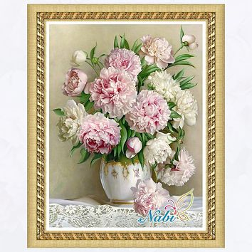 Vase flower counted 5d diy beadwork 3827R - Round Diamond embroidery cross stitch diamond mosaic painting