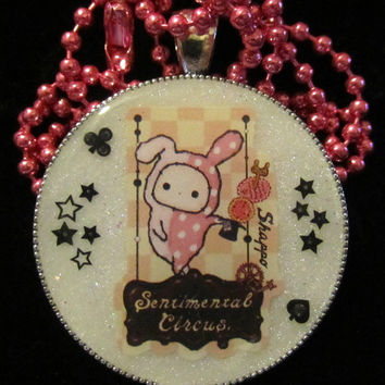 Circus Bunny Necklace - Circus Rabbit Necklace - Kawaii Charm Pendant Handcasted White Resin Jewelry