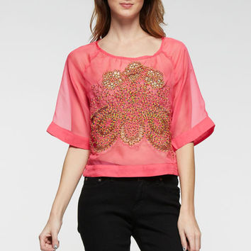 Hot Pink Embroidery Top