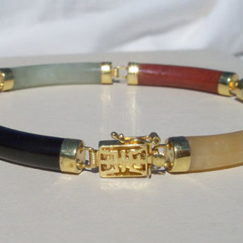 Vintage 14k Gold Multi Color Jade Barrel Link Bracelet