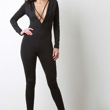 Criss Cross Slit V-Neck Long Sleeve Jumpsuit