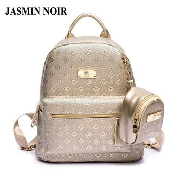 Women's Backpack Fashion 2017 Women's Leisure Grade Pu Bag Set With Purse Brand Girl Backpack School Bag for Teenages