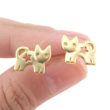Kitty Cat Silhouette with Star Cut Out Shaped Stud Earrings in Gold | DOTOLY