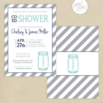 Co-Ed Baby Shower Mason Jar and Stripes Invitation : Aqua/Navy/Gray