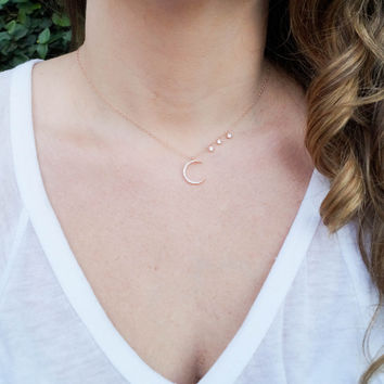 Starry Night Rose Gold Moon Necklace