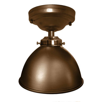 "Factory 7 1/16"" Bronze Metal Flush Mount Light"